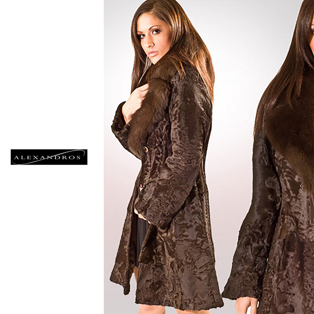 Natural Brown Swakara With Sable Notch Collar - alexandros-furs