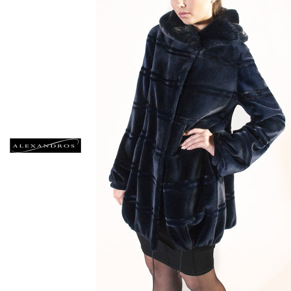 Horizontal Blue Sheared Mink Jacket with Hood - alexandros-furs