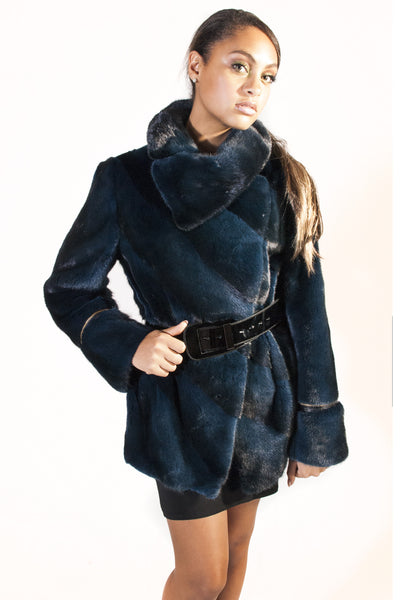 Diagonal Belted Sheared Mink Jacket - Navy-Black - alexandros-furs
