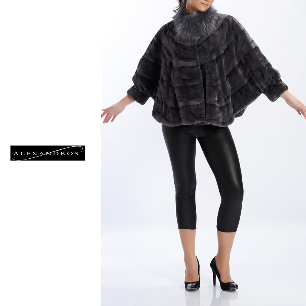 Shear sculptured Mink 3/4 Sleeve blouzon bottom With Fox Collor - alexandros-furs