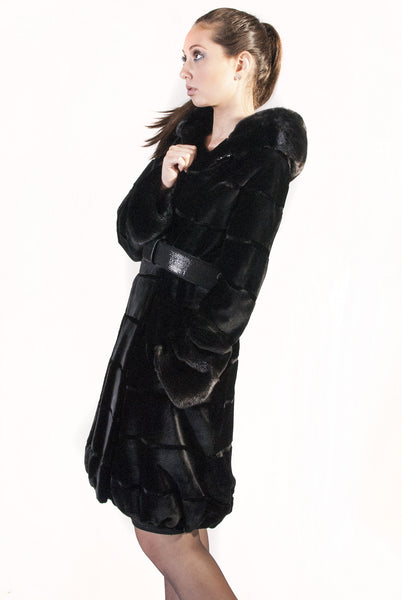 Black Sheared Mink Coat with Belt and Grooved Pattern - alexandros-furs