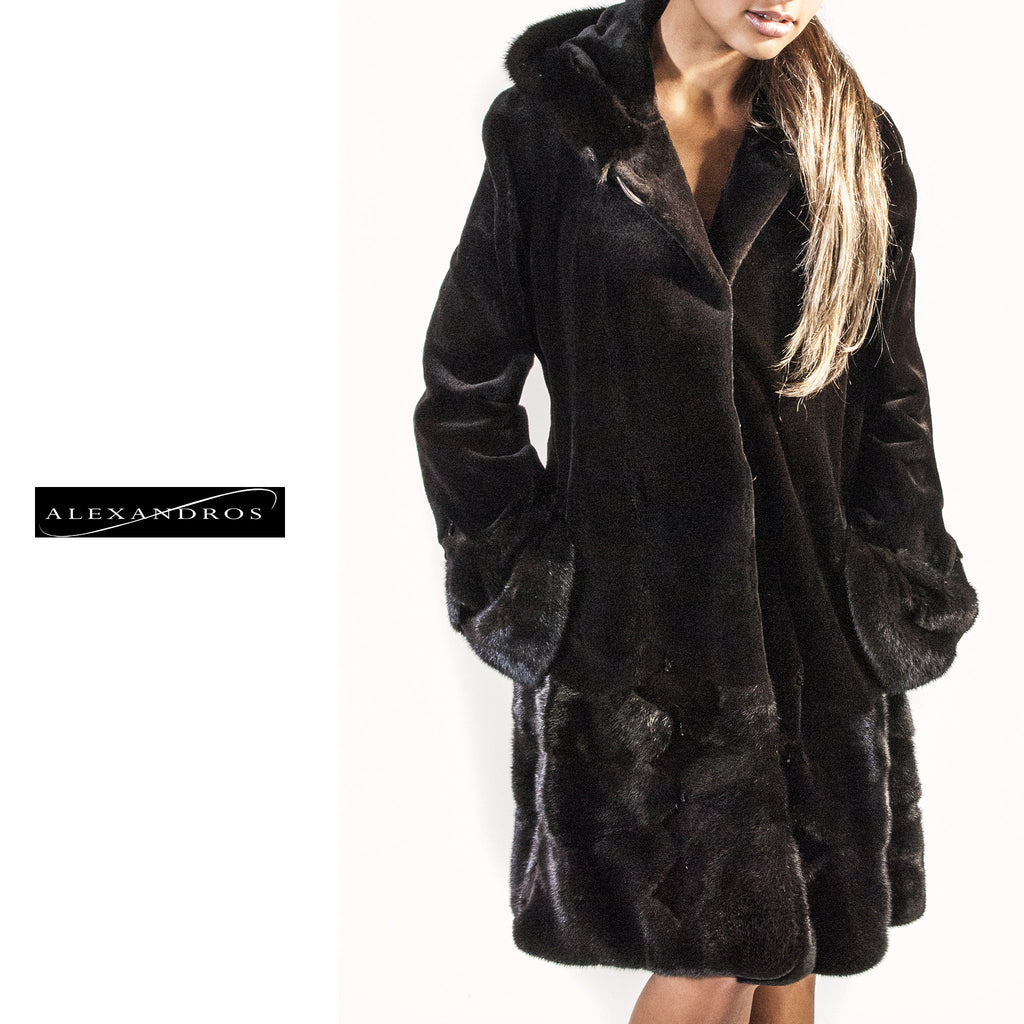 Hooded Sheared Mink Jacket with Swarovski Crystal Beading - alexandros-furs