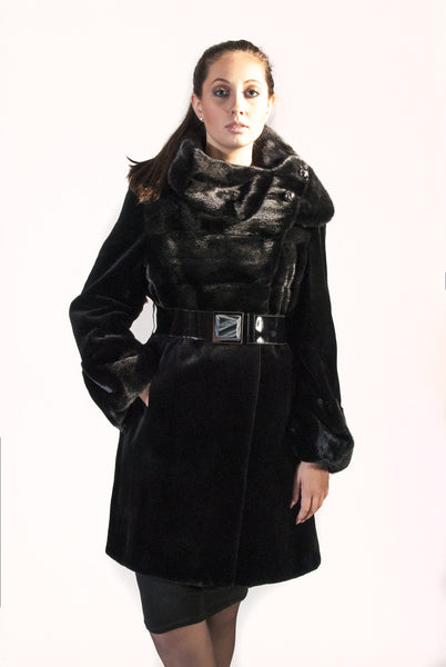 Sheared Mink Horizontal Fur - Belted - Full Collar - alexandros-furs