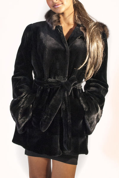 Short Sheared Mink Jacket with Sable Hood Trim   - Belted - alexandros-furs