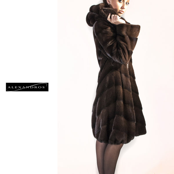 Chevron Hooded Mink Coat with Tulip Bottom - alexandros-furs