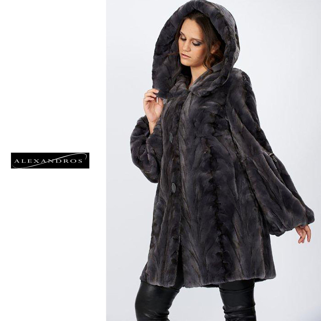 Sculptured Shear Mink With Hood - alexandros-furs