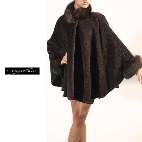 Brown Alpaca Cape with Fox Trim - alexandros-furs