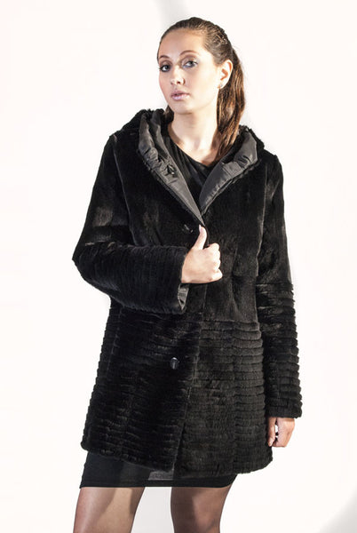 Black Plucked Mink Reversible Raincoat with Horizontal Grooved Hem - alexandros-furs