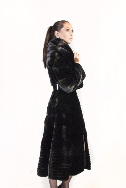 Horizontal Mink  Grooved Mink And Belt - alexandros-furs
