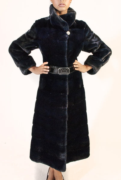 WEB SPECIAL - Long Horizontal Blue-Black  Mink Belted Coat - alexandros-furs
