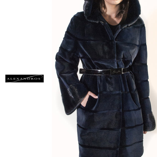 Blue Horizontal  Hooded Sheared Mink Jacket - alexandros-furs