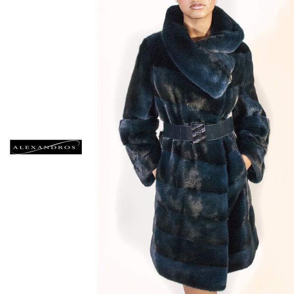 Diagonal Mink Coat with Belt and Full Collar - alexandros-furs
