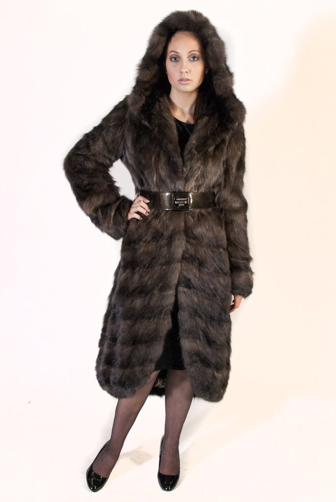 WEB SPECIAL - Horizontal Russian Sable Hi-Lo Coat with Hood - alexandros-furs
