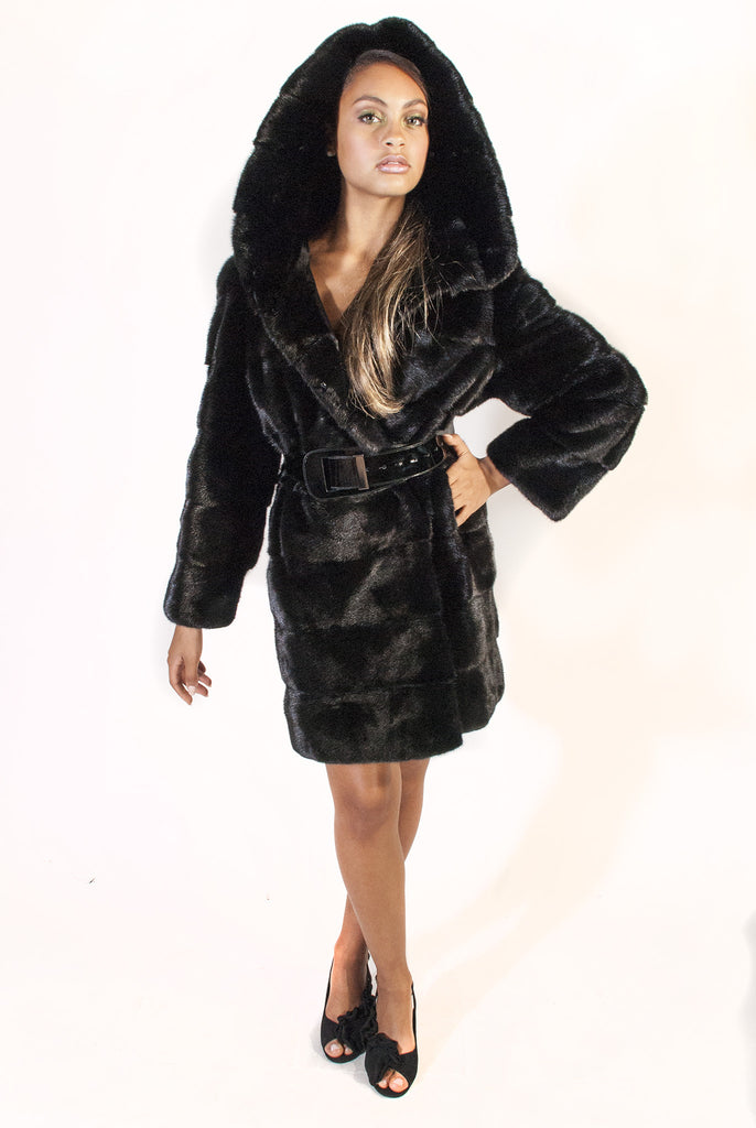 Black Horizontal Hooded  Mink Jacket with Belt - alexandros-furs