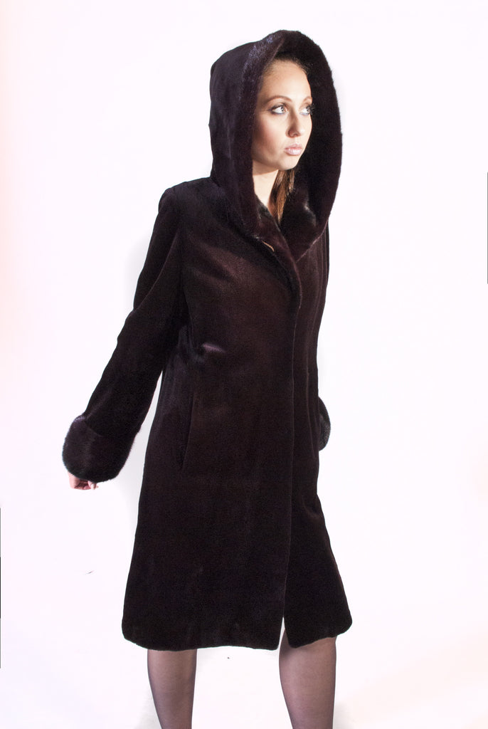 Deep Eggplant Brown Sheared Mink Hooded Coat - alexandros-furs
