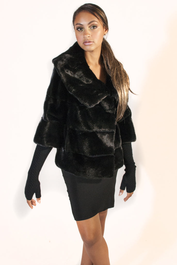 Black Mink Cropped Jacket with Detachable Knit Sleeves and Full Collar - alexandros-furs