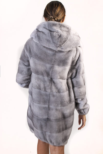 Gray Horizontal Sheared Mink Jacket with Removable Sleeve - alexandros-furs