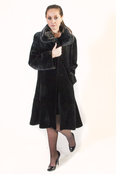 WEB SPECIAL     While supplies last ... Knee Length Swing Style Sheared Mink Coat - alexandros-furs