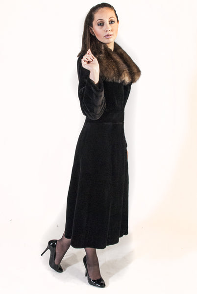 Calf Grazing Fitted Sheared Mink Coat with Sable Collar - alexandros-furs