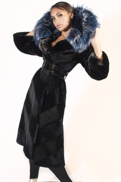 Diagonal Sheared Mink Full Length Coat with Blue Silver Fox Collar - alexandros-furs
