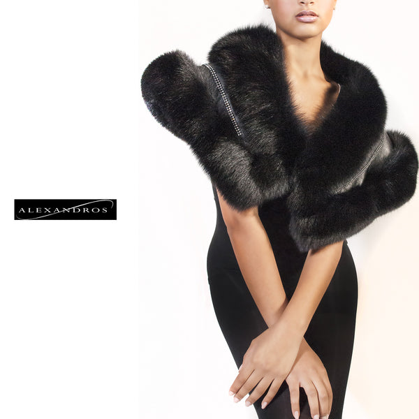 Black Fox Shawl with Leather and Swarovski Crystal Inset - alexandros-furs