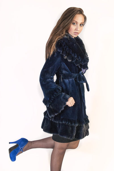 Royal Beauty - Ruffled Collar, Hem and Cuff Sheared Mink Coat - alexandros-furs