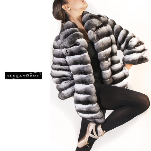 Chinchilla Jacket With 3/4 Sleeve - alexandros-furs