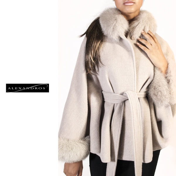Creamy White Alpaca Cape with Fox Trim - Belted - alexandros-furs