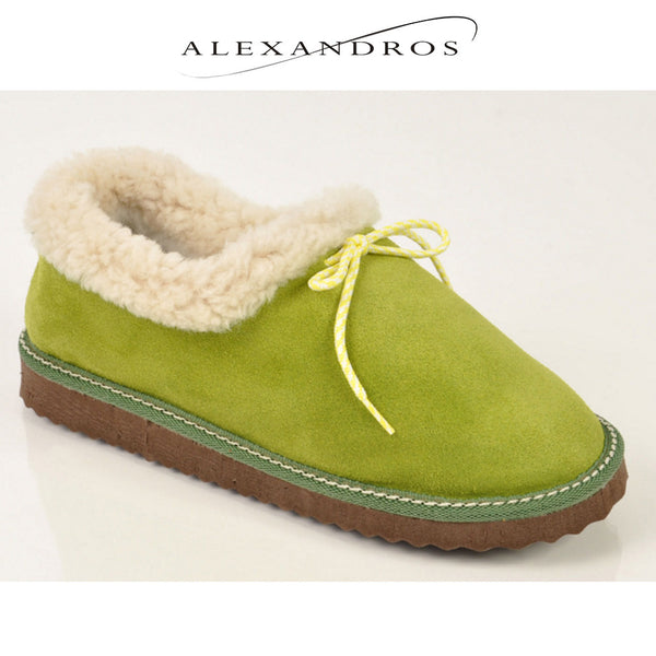 Women's Handmade Merino Wool and Leather Ankle Boot Slippers - alexandros-furs