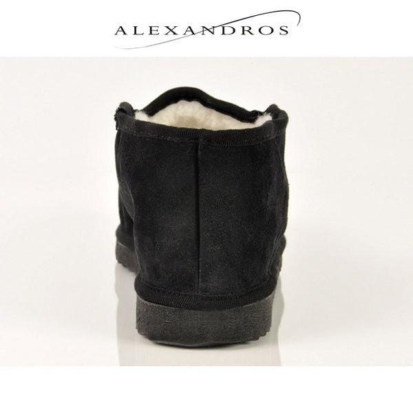 Handmade Ankle Boot Slippers for Men Soft Suede Leather and Merino Wool - alexandros-furs