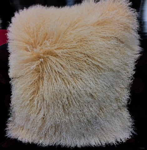 Mongolian lamb snow top beige 20x20 Pillow - alexandros-furs