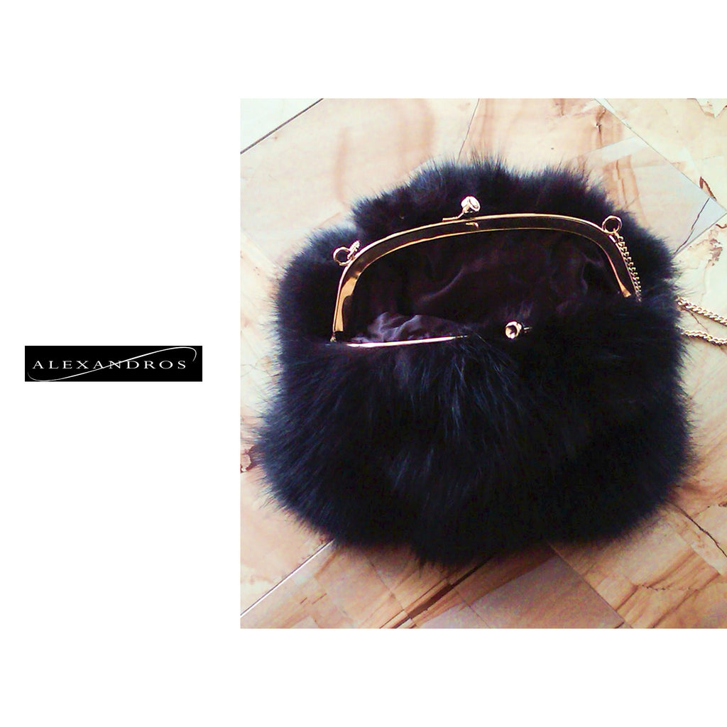 Fox Bag with Gold Frame and Chain Strap - alexandros-furs