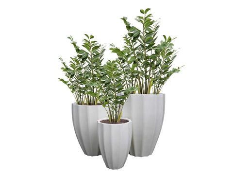 Alicante Ribbed Round Fiberglass Planter