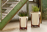 Modernica Case Study® Ceramic Funnel Pot Planter with Wood Stand -  - 2