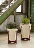 Modernica Case Study® Ceramic Funnel Pot Planter with Wood Stand -  - 4