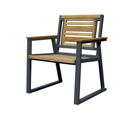 Classic Indoor Outdoor Natural Solid Teak Wood Arm Chair - gardenmybalcony.com - 1