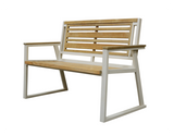 Classic Indoor Outdoor 2-Seater Natural Solid Teak Wood Bench - gardenmybalcony.com - 3