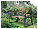 Chippendale Indoor Outdoor 2-Seater Natural Solid Teak Wood Bench - gardenmybalcony.com - 1