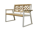 Chippendale Indoor Outdoor 2-Seater Natural Solid Teak Wood Bench - gardenmybalcony.com - 3