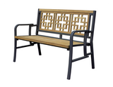Oriental Indoor Outdoor 2-Seater Natural Solid Teak Wood Folding Bench - gardenmybalcony.com - 1