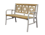 Oriental Indoor Outdoor 2-Seater Natural Solid Teak Wood Folding Bench - gardenmybalcony.com - 2