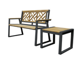 Chippendale Indoor Outdoor 2-Seater Natural Solid Teak Wood Bench - gardenmybalcony.com - 4