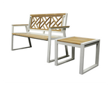 Chippendale Indoor Outdoor 2-Seater Natural Solid Teak Wood Bench - gardenmybalcony.com - 5