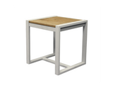 Classic Indoor Outdoor Natural Solid Teak Wood Tall Side Table - gardenmybalcony.com - 2