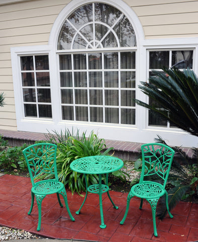 Meadow Decor Outdoor Bistro Aluminum Table and Chairs Set - gardenmybalcony.com - 4