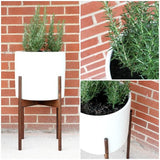 Modernica Case Study® Ceramic Cylinder Pot Planter with Wood Stand -  - 2
