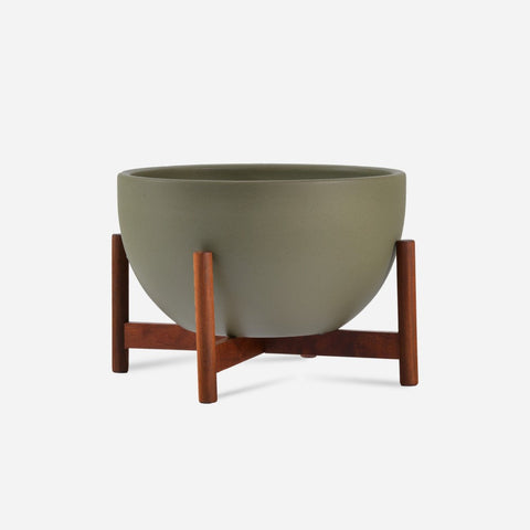 Modernica Case Study® Ceramic Bowl Pot with Wood Stand