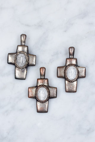 Pewter Cross Pendant with French Religious Medal