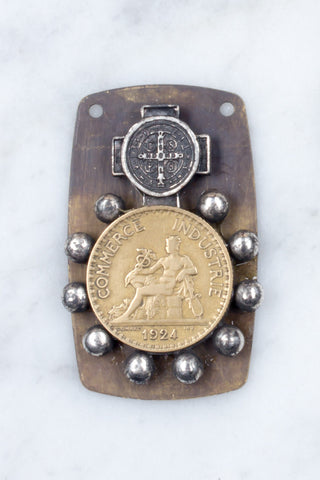 French Coin & Rosary Ring Pendant