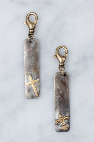 Soldered Metal Cross and Fleur Charms